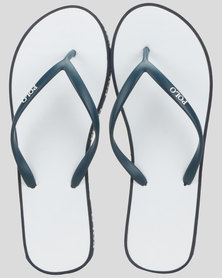 Polo Sophia Striped Flip Flops White