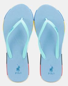 Polo Tessa Striped Flip Flops Turquoise
