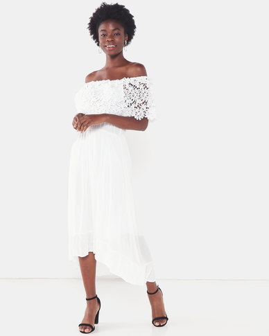 Utopia Maxi Bardot Dress With Lace Trim White