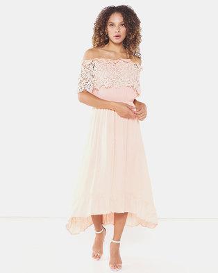 Utopia Maxi Bardot Dress With Lace Trim Coral