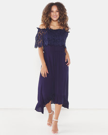 Utopia Maxi Bardot Dress With Lace Trim Navy
