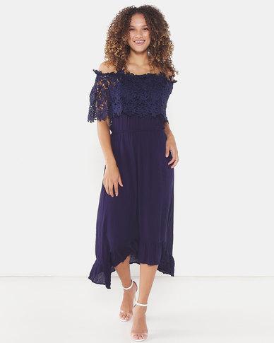 Utopia Maxi Bardot Dress With Lace Trim Navy