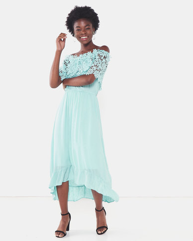 Utopia Maxi Bardot Dress With Lace Trim Seafoam