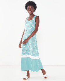 Utopia Floral Print Knit Maxi Dress Mint