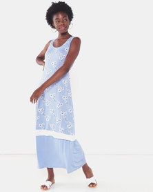 Utopia Floral Print Knit Maxi Dress Light Blue