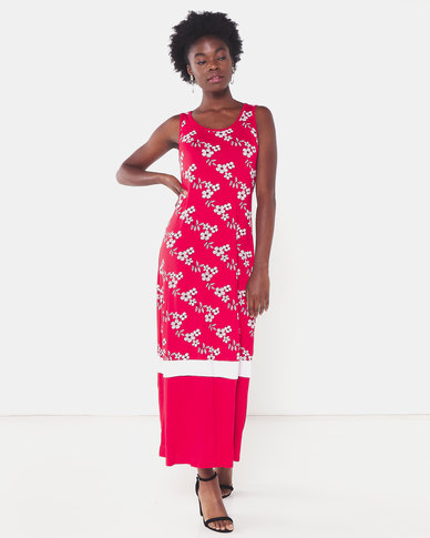 Utopia Floral Print Knit Maxi Dress Red