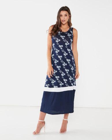 Utopia Floral Print Knit Maxi Dress Navy