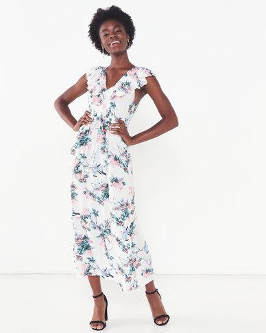 Utopia Viscose Floral Maxi Dress White