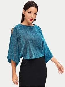 Elite Occasions Open Shoulder Glitter Top