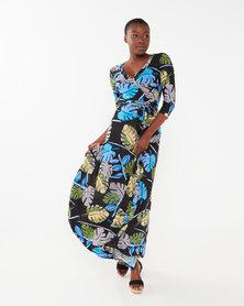 Utopia Printed 3/4 Sleeve Knit Maxi Dress Blue