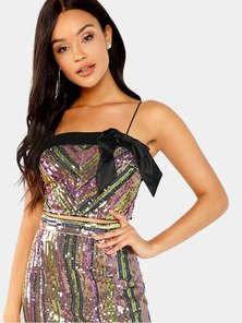 Elite Occasions Bow Front Crop Sequin Cami Top
