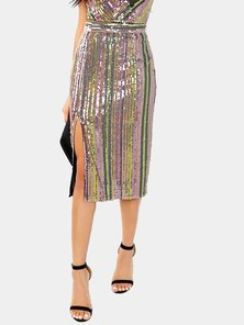 Elite Occasions Colorful Sequin Zip Up Skirt