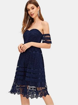 Elite Occasions Off Shoulder Lace Solid Dress