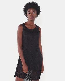 Utopia Lace Flare Dress Black