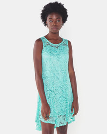 Utopia Lace Flare Dress Turquoise