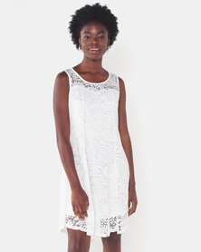 Utopia Lace Flare Dress White