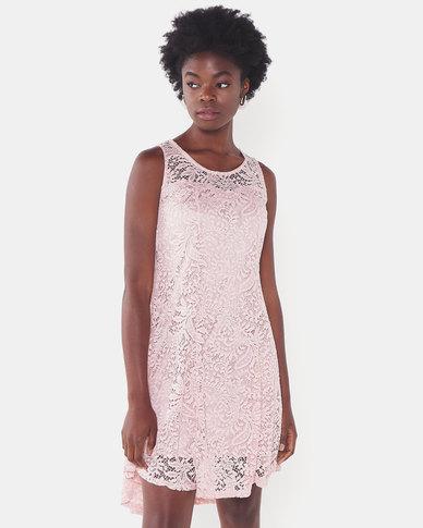 Utopia Lace Flare Dress Pink