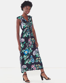 Utopia Tropical Print Viscose Maxi Dress Navy
