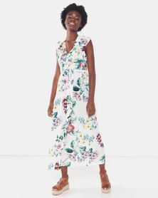Utopia Tropical Print Viscose Maxi Dress White