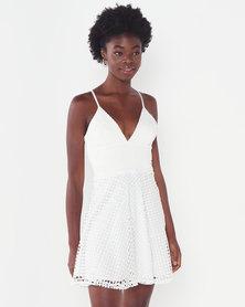 Sissy Boy Skater Dress With Crochet Off White