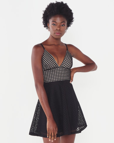 Sissy Boy Skater Dress With Crochet Black