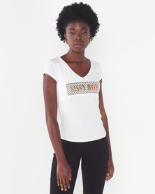 Sissy Boy Off White Tonia V Neck Logo With Mixed Foil & Print