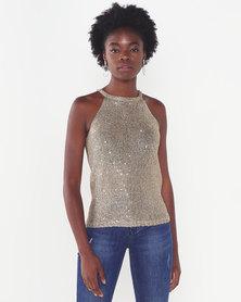 Sissy Boy Lipsy Sequin Lurex Fashion Vest Gold