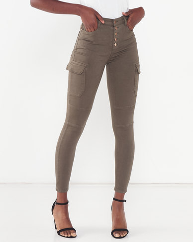 Sissy Boy Ryder Cargo Pants With Exposed Buttons Khaki