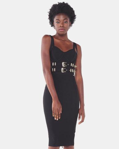 Sissy Boy Bora Bandage Dress With Buckle Detailing Black