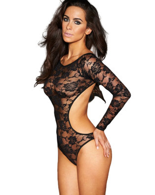 I Love Lingerie, Antonella Long Sleeve Bodysuit Black Lace