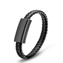 Soul Tech Outdoor Portable Leather USB Data Cable Bracelet Charger - iPhone/Android Micro USB (23cm)