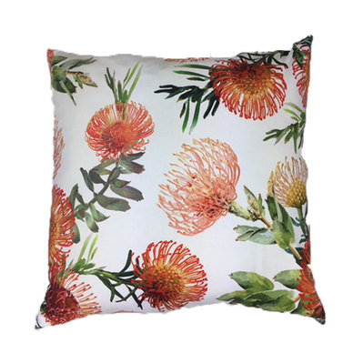 Amore Home Orange Floral Cream Scatter Cushions with Inner