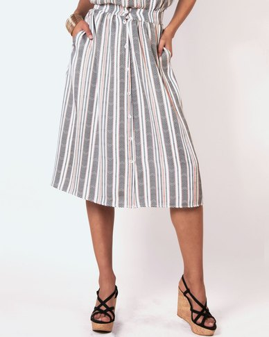 Marique Yssel Button Down Skirt - Milk Chevron