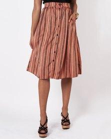 Marique Yssel Button Down Skirt - Clay Chevron
