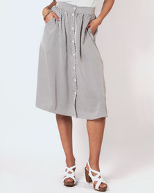 Marique Yssel Button Down Skirt - Milk Diamond