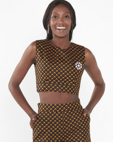 Chepa Naledi Crop-Top Brown /Yellow