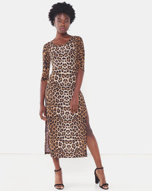 Utopia Animal Print Maxi Knit Dress Brown