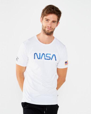 Alpha Industries Nasa Star 3D T White