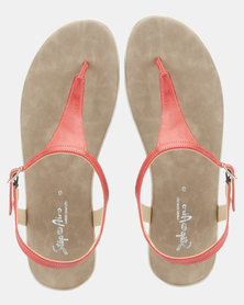 Step On Airs Hanna Leather Thong Sandals Red