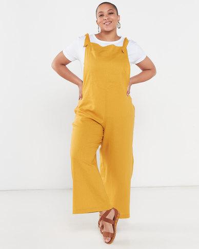 Utopia Plus Linen Jumpsuit Mustard