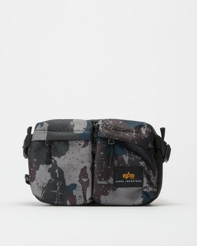 Alpha Industries Splash Camo Slate Crossbody Bag Grey