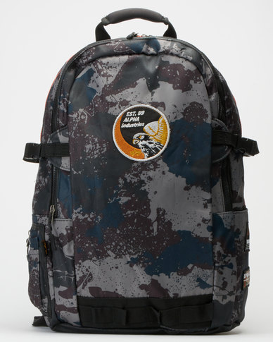 Alpha Industries Splash Camo Slate Backpack Grey/Orange