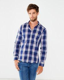 Polo Mens Custom Fit Signature Long Sleeved Shirt Blue