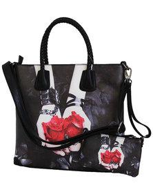 Fino  2 In 1 Maxi PU Leather Tote Bag Black