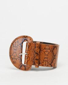 All Heart Snake Skin Waist Belt Brown