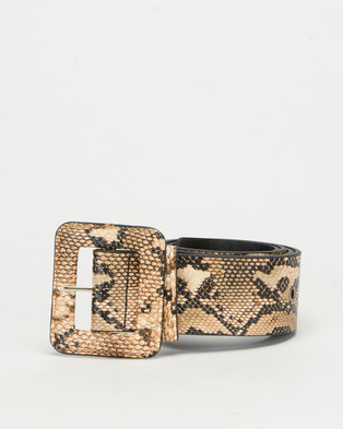 All Heart Snake Skin Rectangle Buckle Waist Belt Beige