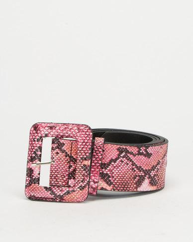 All Heart Snake Skin Rectangle Buckle Waist Belt Red