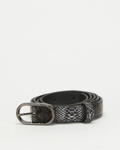 All Heart Snake Skin Skinny Waist Belt  Black