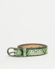 All Heart Snake Skin Skinny Waist Belt Green