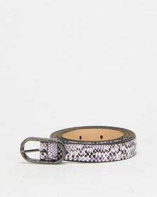 All Heart Snake Skin Skinny Waist Belt  Lilac